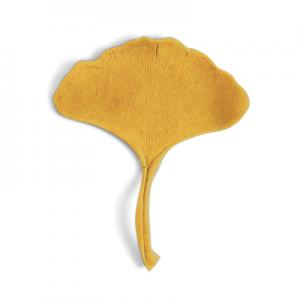 Handmade natural looking ginkgo leaf in porcelain in mustard yellow.