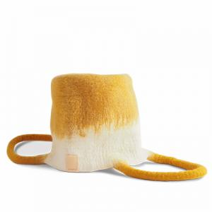 Small wool basket in white and mustard with ombre effect.