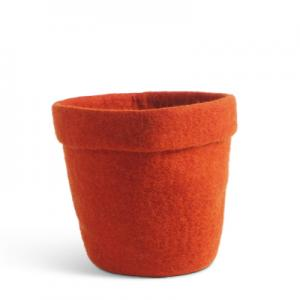 Large flower pot made of wool in terracotta color.