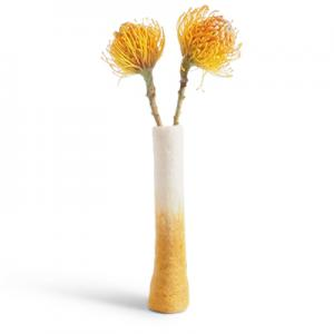Standing tall vase in 100% wool with ombre effect in mustard and white.
