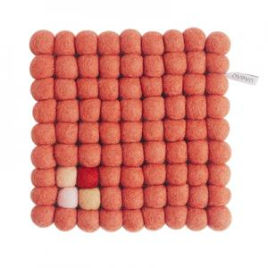 Wool square trivet in terracotta colors with detail in red, white and beige
