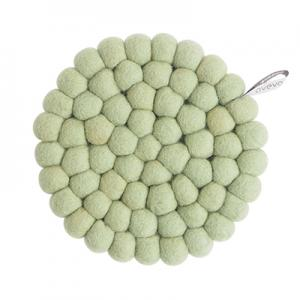 Round handmade trivet made of 100% wool in Sage green