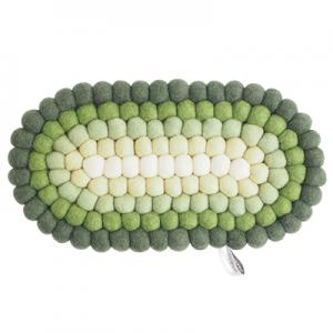 Oval trivet in 100% wool in green and white hues.