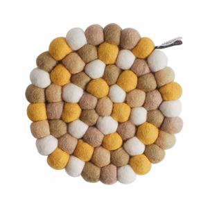 Round handmade trivet made of 100% wool - Mixed sand, beige, white and ochre hues.