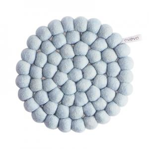 Round handmade trivet made of 100% wool - Light blue.