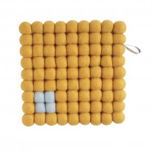 Square trivet of 100% wool -  Ochre with Light blue detail.