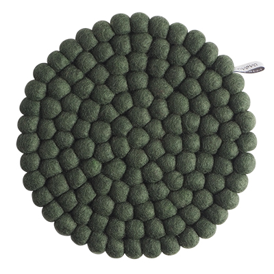 Large round trivet made of 100% wool - Moss green.