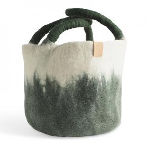Large wool basket in white and moss green, with ombre effect.