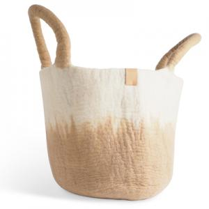 Large wool basket in white and sand, with ombre effect.