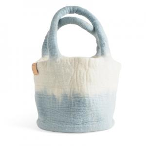 Wool bag in white and light blue, with ombre effect.