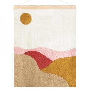 Poster in wool with a motive of landscape fields. Colors in sand, pink, red and ochre.