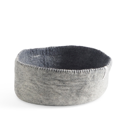 Table basket in wool, in size L - color grey.