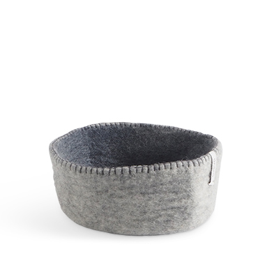 Table basket in wool, in size M - color grey.
