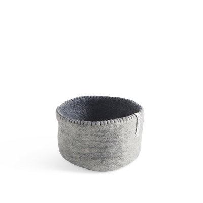 Table basket in wool, in size S - color grey.