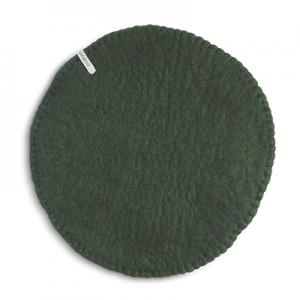 Seat cushion in wool with a stitched edge, color moss green.