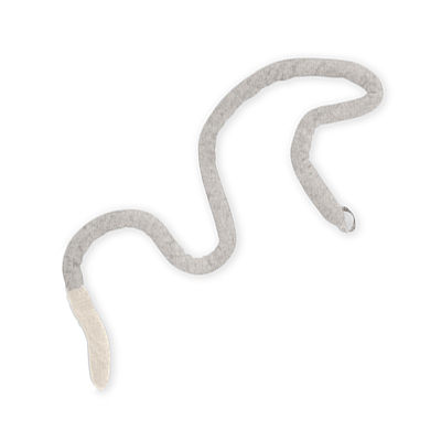 Trivet in wool in the shape of a snake in grey and white colors.