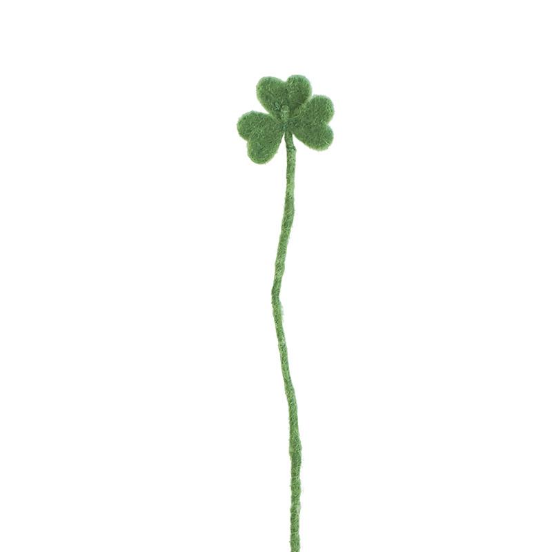 Cut flower made in wool - light green clover.