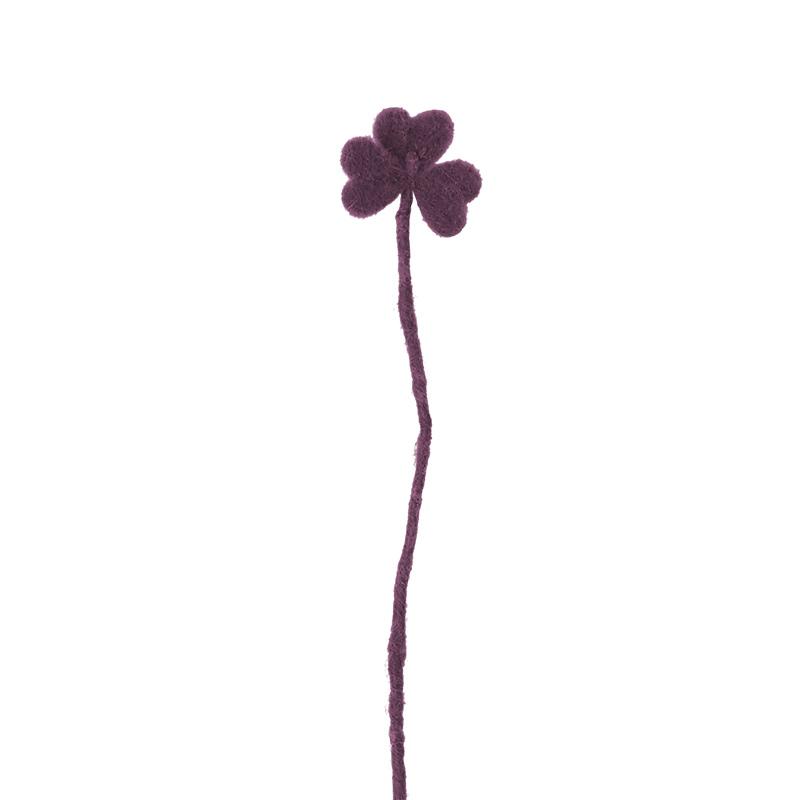 Cut flower made in wool - deep red clover.