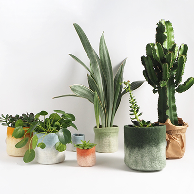 Flowerpots in different straight and round shapes and sizes - colors in earthy hues.