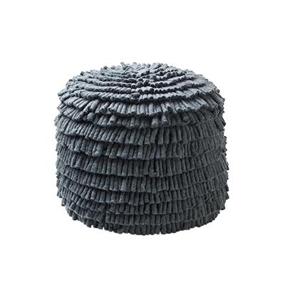 Handmade dark grey pouf made of 100% wool.