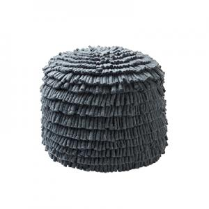 Handmade dark grey pouf made of 100% wool.