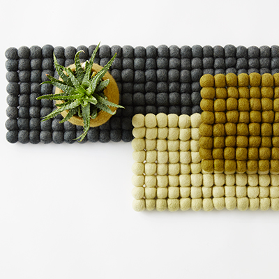 Trivets 100% wool - Grey/Olive-green/Lime-green