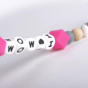 Pacifierclip ' I love Mom' pink