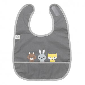 Eat dark grey friends bib