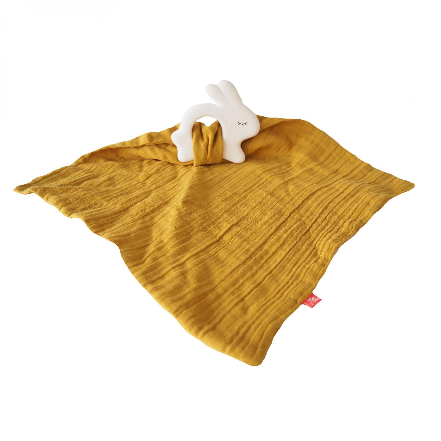 Rubber Rabbit with Towel Mustard