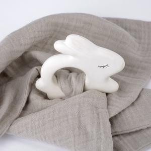 Rubber Rabbit with Towel Silver Grey