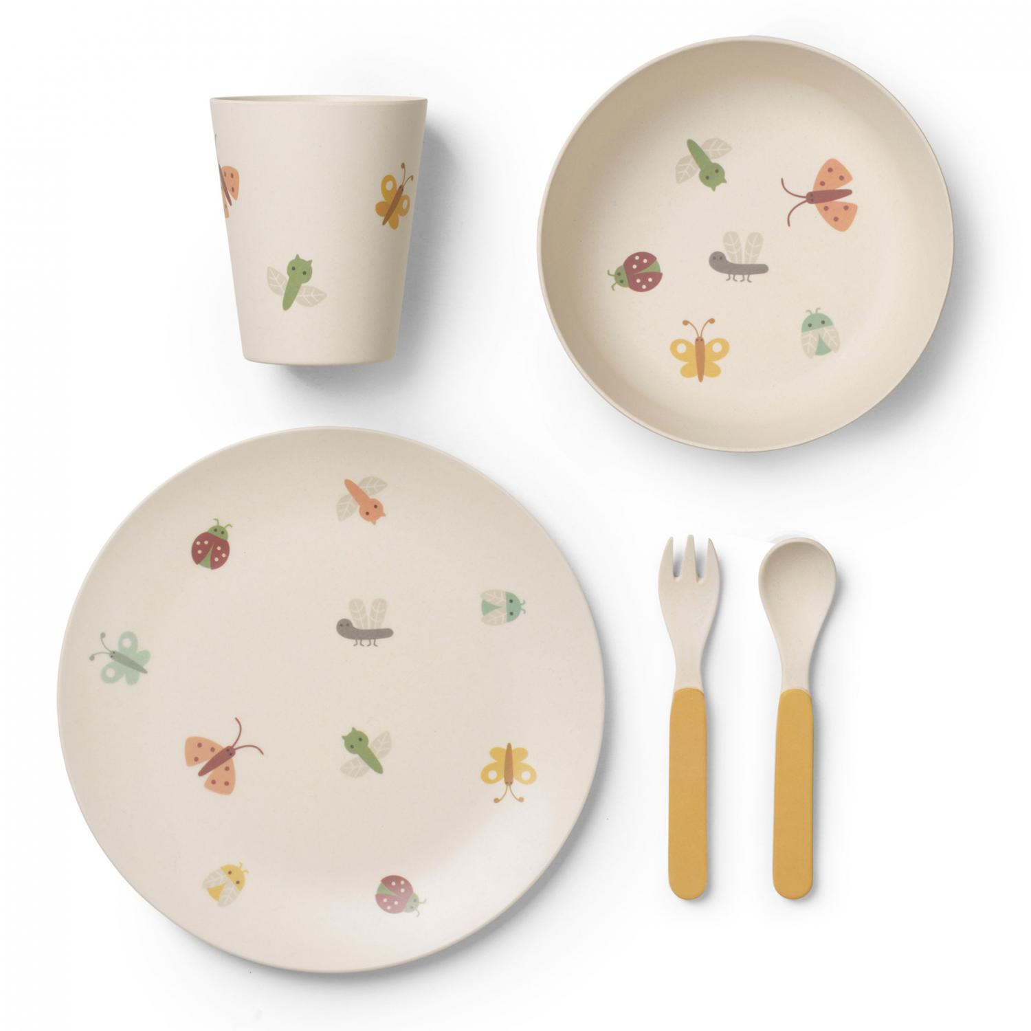 Butterfly bamboo dinner set