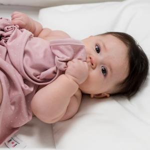 Babyfilt soft pink dotty GOTS