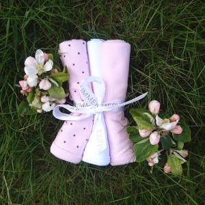 Snuttefilt 3-pack rosa dotty GOTS