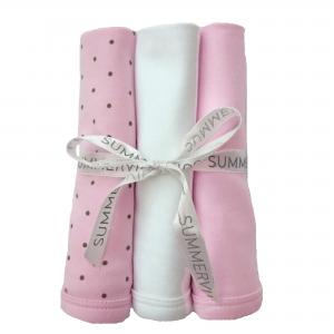 Blankies pink dotty pack of 3 GOTS