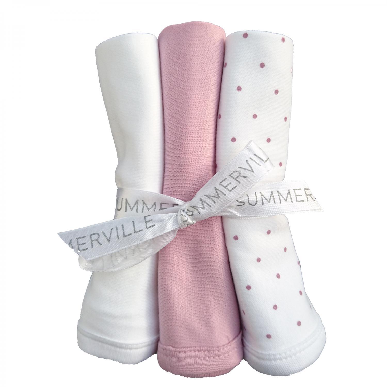 Snuttefilt 3-pack soft pink dotty GOTS