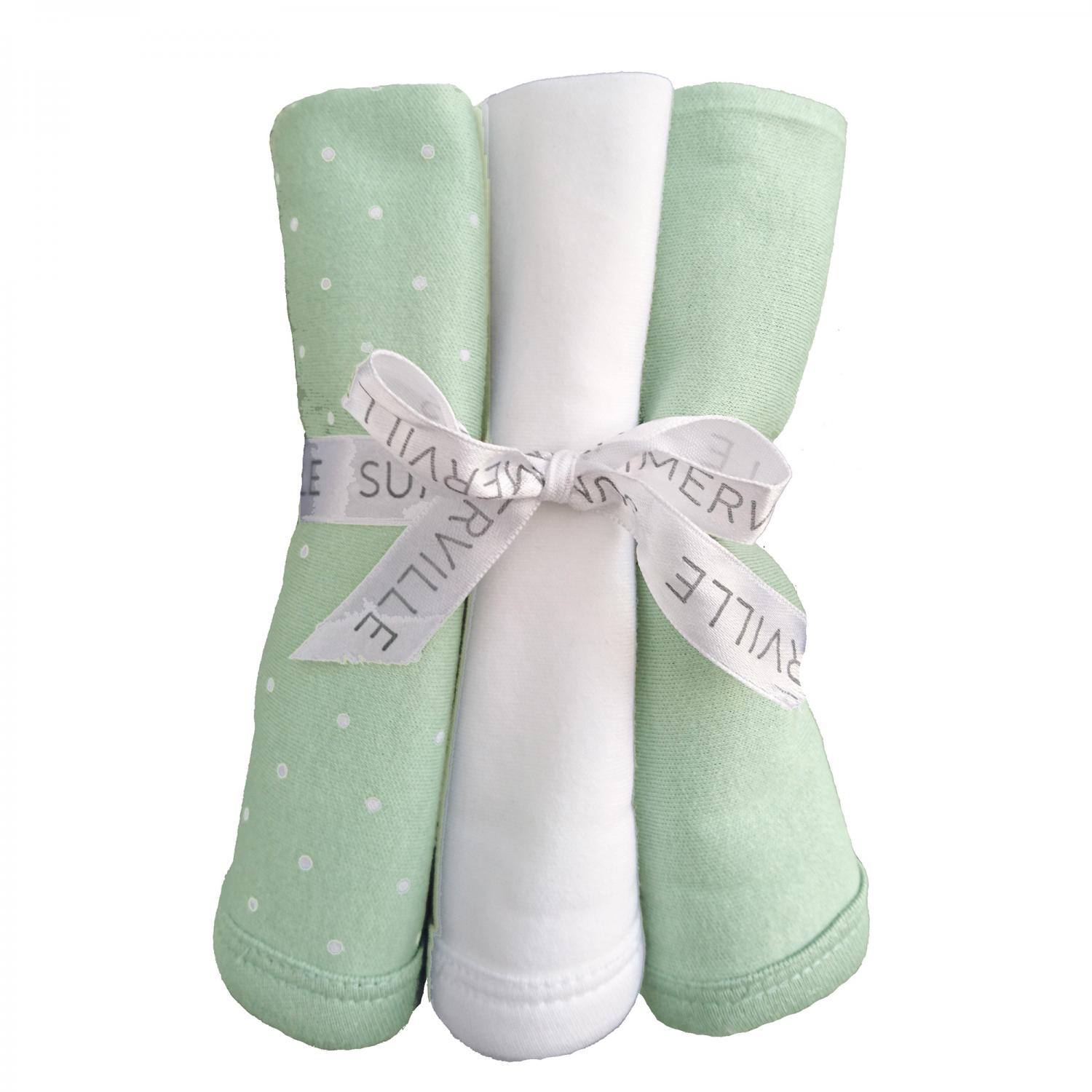 Snuttefilt 3-pack soft mint dotty GOTS