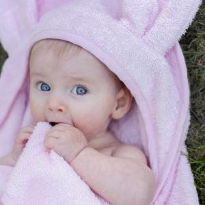 Badcape rabbit rosa GOTS