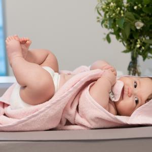 Hooded towel rabbit pink GOTS