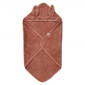 Hooded towel rabbit misty rose GOTS