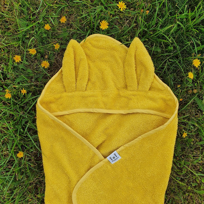 Hooded towel rabbit sun yellow GOTS