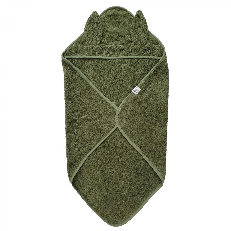 Hooded towel rabbit green GOTS