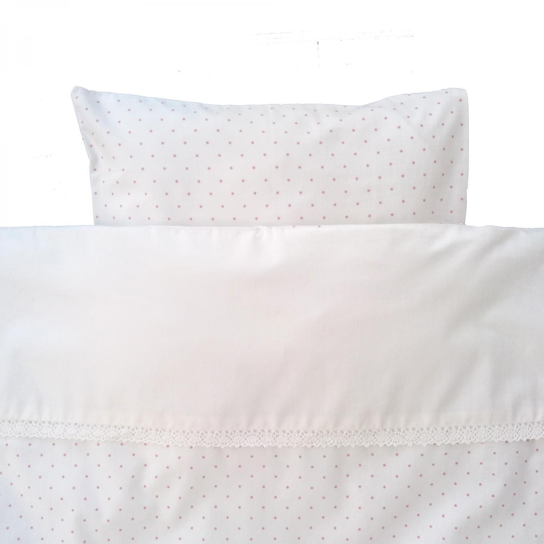 Bedding junior white/pink dotty GOTS