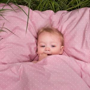 Bedding junior soft pink dotty GOTS