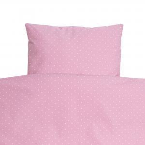 Bäddset spjälsäng soft pink dotty GOTS