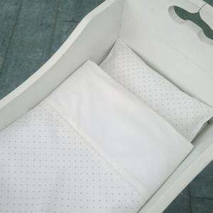 Bedding baby white/pink dotty GOTS