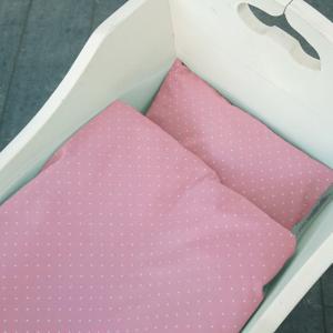 Bäddset vagga soft pink dotty GOTS