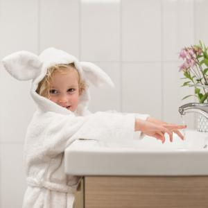 Bath robe rabbit white 86/92 GOTS
