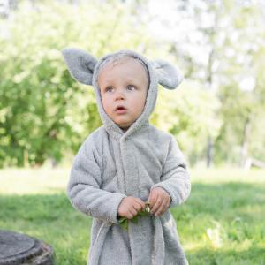 Bath robe rabbit silver grey 98/104 GOTS