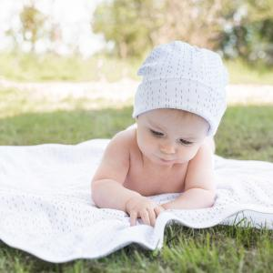 Babyhat double white line 0-3 m GOTS