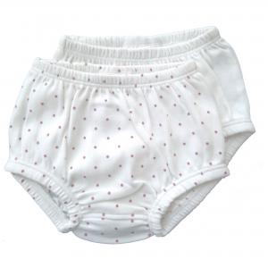 Bloomers pack of 2 white/pink dotty 0-3 months